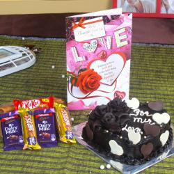 Assorted Chocolate with Heart Shape Chocolate Cake and Love Greeting Card for Dewas