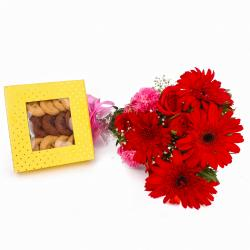 Assorted Cookies with Bouquet of Red and Pink Flowers for Moga