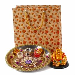 Attractive Thali and Laughing buddha with Gift Bag for Dombivli