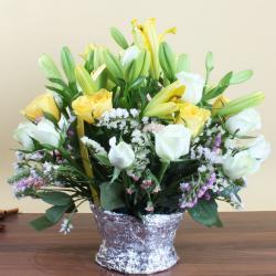 Basket Arrangement Of Mix Exotic Flowers