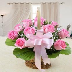Basket Arrangement of Pink Roses for Alappuzha