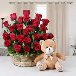 Basket Arrangement of Red Roses with Teddy Bear for Kolkata