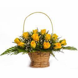 Basket Arrangement of Twelve Yellow Roses for Gurgaon