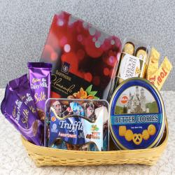 Basket Full of Chocolates and Cookies for Lucknow