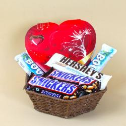 Basket full of Hersheys and Snickers with Heart shape Chocolate Box for Thanjavur