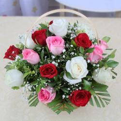Basket of 15 Mix Color Roses for Pune