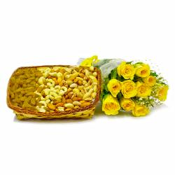Basket of 2 Kg Assorted Dryfruits with 10 Pink Roses Bunch for Chandigarh
