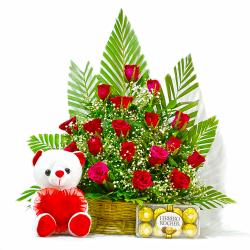 Basket of 20 Red Roses with Ferrero Rocher Chocolates and Teddy Bear for Lucknow