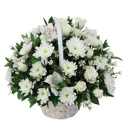 Basket of 25 White Flowers for Delhi