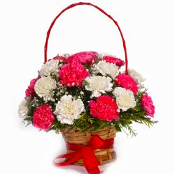 Basket of Eighteen Pink and White Carnations