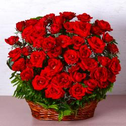 Basket of Fifty Red Roses for Mathura