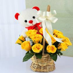 Basket of Yellow Roses with Teddy Bear for Kolkata