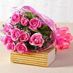 Beautiful Ten Pink Roses Hand Tied Bunch for Jalandhar