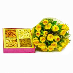 Beautiful Twenty Yellow Roses with 1 Kg Assorted Dry Fruits for Kolkata