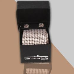 Beige Brown Weaved Tie and Cufflink for Dombivli