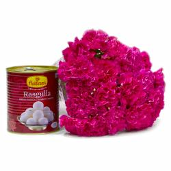 Bengali Rasgullas with Bunch of 15 Pink Carnations for Rajahmundry