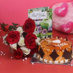 Best Wishes Combo of Roses and Cake for Bankura