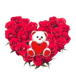 Big Teddy and 25 Roses heart basket for Thanjavur