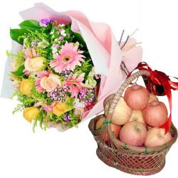 Birthday Apples Basket with Flowers for Bangalore