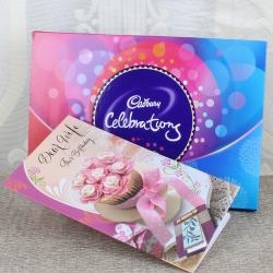 Birthday Card for Caring Wife with Cadbury Celebration Box for Hospet