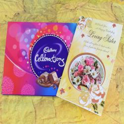 Birthday Card for Loving Sister with Cadbury Celebration Box for Hospet