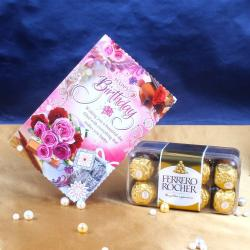 Birthday Greeting Card with Ferrero Rocher Chocolate for North Goa
