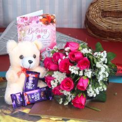 Birthday Greetings with Teddy and Dairymilk chocolates for Kolkata