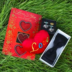 Black Bow Tie with Love Card and Soft Heart including Silver Beads Cufflink for Pune
