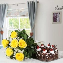 Black Forest Cake and Bouquet of Yellow Roses for Kakinada