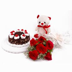 Black Forest Cake and Cute Teddy Bear with Six Red Roses for Karaikudi