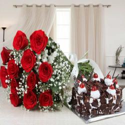 Black Forest Cake and Red Roses Bouquet for Ahmedabad