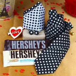 Black White Tie Combination Gift with Hersheys Chocolate and Love Key Chain for Hyderabad