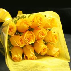 Blushing Bright Yellow Roses for Bhopal