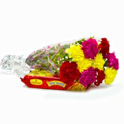 Bouquet of 10 Mix Carnations with Box of Soan Papdi for Lucknow
