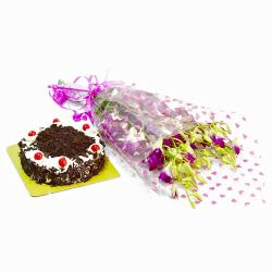 Bouquet of 10 Orchids with Black Forest Cake for Mathura