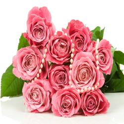 Bouquet of 10 Pink Roses for Alappuzha