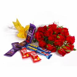 Bouquet of 15 Red Roses and Cadbury Assorted Chocolate Bars for Noida