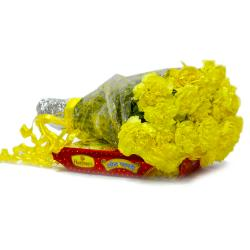 Bouquet of 15 Yellow Carnations with Box of Soan Papdi for Raichur