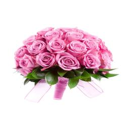 Bouquet of 18 Pink Roses for Kanchipuram