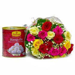 Bouquet of 20 Mix Lovely Roses with Bengali Sweet Rasgullas for Belgaum