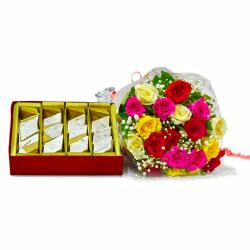 Bouquet of 20 Mix Roses with Box of 500 Gms Kaju Katli for Pune