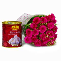Bouquet of 20 Pink Roses with Tempting Bengali Rasgullas for Kolkata