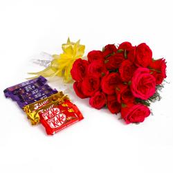 Bouquet of 20 Red Roses and Assorted Cadbury Chocolate Bars for Jaipur