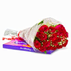 Bouquet of 20 Red Roses with Cadbury Celebration Chocolate Pack for Madras
