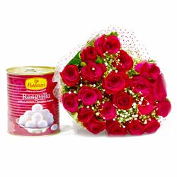 Bouquet of 20 Red Roses with Mouthwatering Rasgullas for Chennai