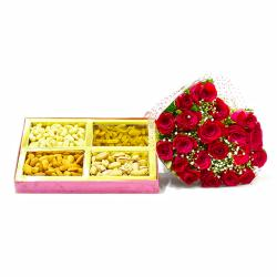 Bouquet of 20 Roses with Box of 1 Kg Assorted Dryfruit Combo for Kolkata