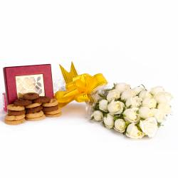 Bouquet of 20 White Roses and Assorted Cookies Combo for Chennai