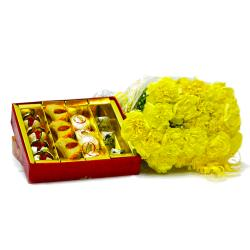 Bouquet of 20 Yellow Carnations with Box of Assorted Indian Sweets for Kolkata