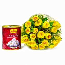 Bouquet of 20 Yellow Roses with Bengali Sweet Rasgullas for Rajahmundry
