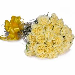 Bouquet of 23 Yellow Carnations with Cellophane Packing for Baroda